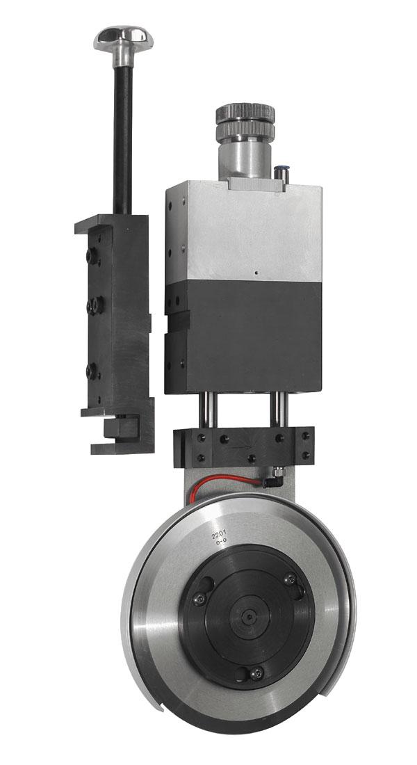 WISTEC Messerhalter Typ 40-150 mit Anbindung an kundenspezifische Aufnahme