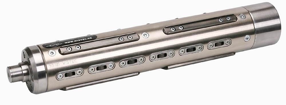 WISTEC pneumatisch-mechanische Sicherheitsspannwelle, die 100 % zentrisch spannenden Spannkeile werden mit 6 bar entspannt, die Rollen sind dauerhaft über Federpakete gespannt, es sind Rollenmodule für leichten Rollenwechsel integriert