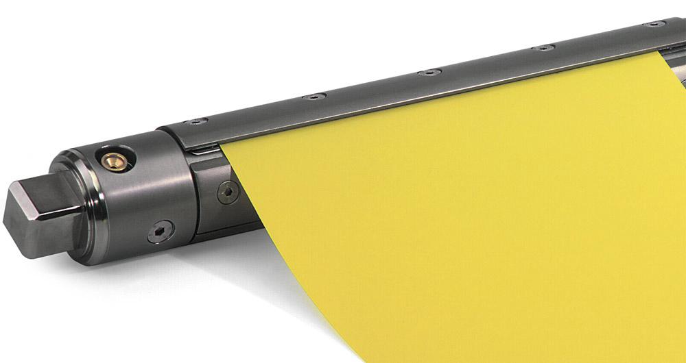 WISTEC pneumatische Spannwelle mit Spannschalen, Sonderausführung für hülsenloses Aufwickeln